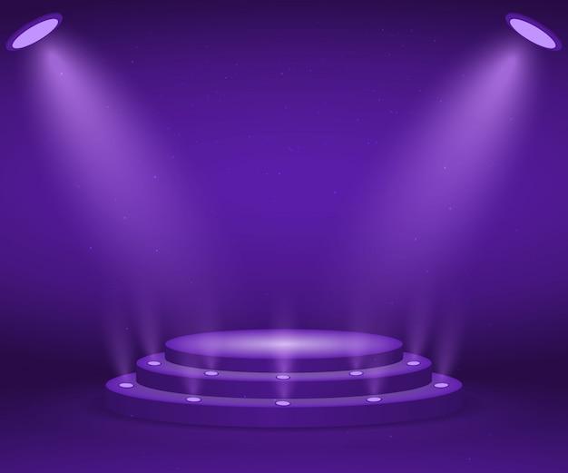 表彰式のためのライトが付いている段階。照らされた円形の表彰台。ペデスタル。