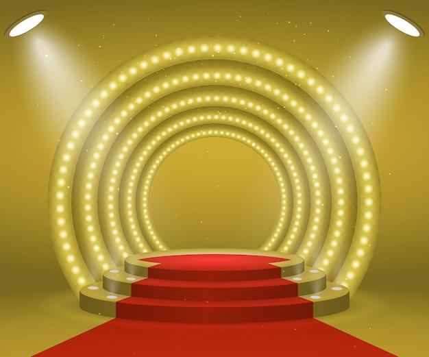 Сцена с огнями для церемонии награждения. круглый подиум с подсветкой и красной ковровой дорожкой. пьедестал.