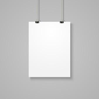 灰色の壁に白いポスターモックアップ