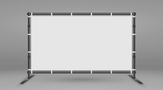 バナーの背景スタンド。白い空白の広告プレスの壁