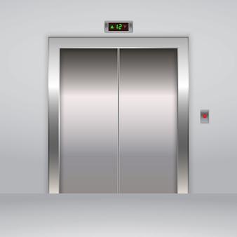 現実的な金属製オフィスエレベーターのエレベーターの扉。