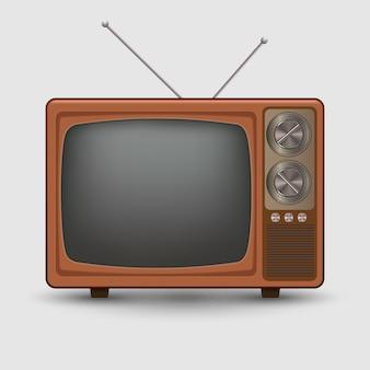 現実的な古いビンテージテレビ。レトロテレベーション白い背景の上の図