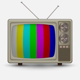 Реалистичный старый винтажный телевизор. ретро телевизия без проверки сигнала. иллюстрация на белом фоне