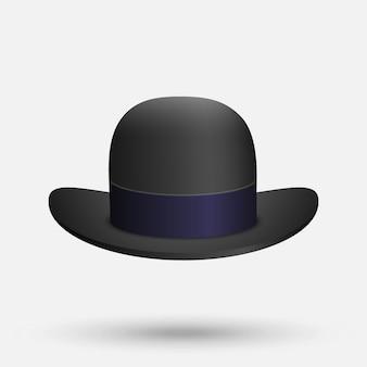 白地に黒の山高帽