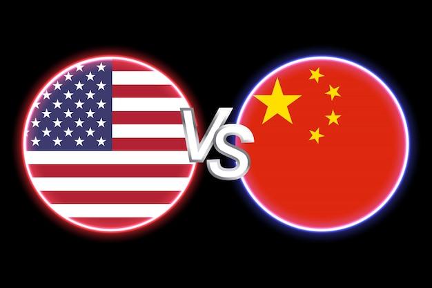Красочные векторная иллюстрация двух круглых форм с флагами на черном фоне