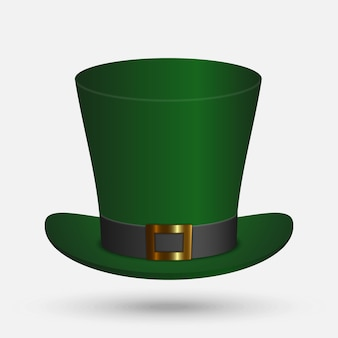 聖パトリックの緑の帽子の白い背景で隔離