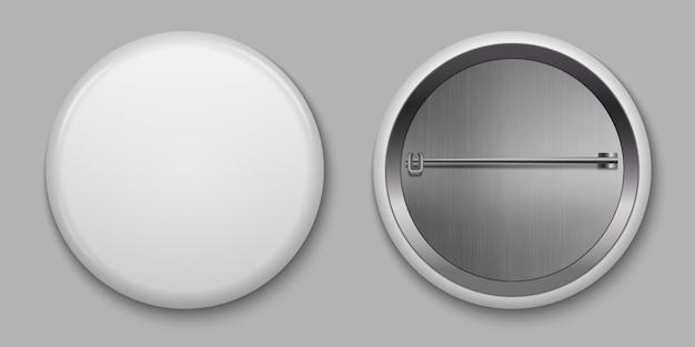 空白の白い光沢のあるバッジ、ピン付きベクトルイラスト