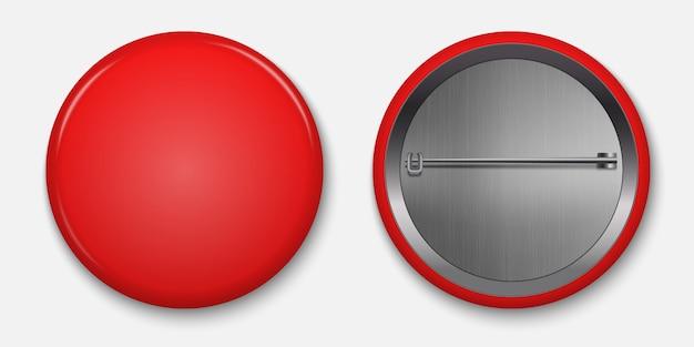 空白の赤い光沢のあるバッジ、ピン付きベクトルイラスト