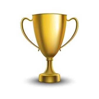 優勝カップが分離されました。白い背景の上の黄金のトロフィー。ベクトルイラスト