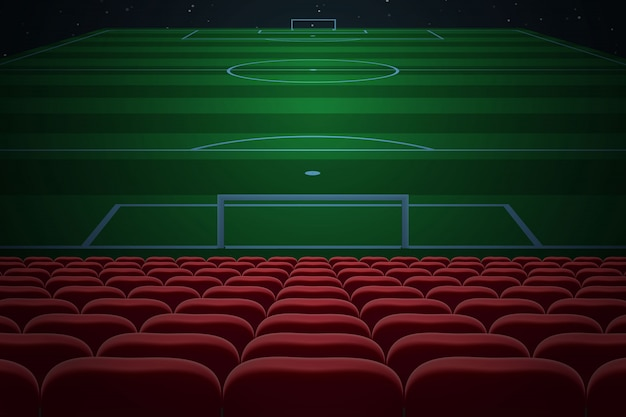 サッカースタジアムの赤い座席の行。サッカーの背景