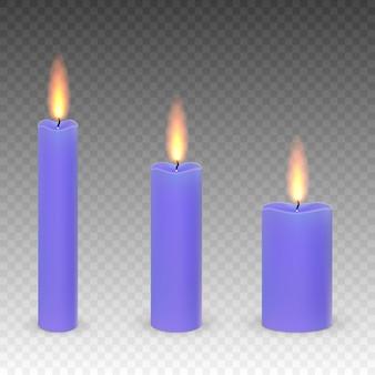 Набор реалистичных парафина горящих свечей, изолированных на прозрачном фоне.
