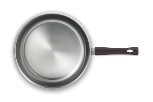 白い背景で隔離のトップビューで現実的な空の鍋