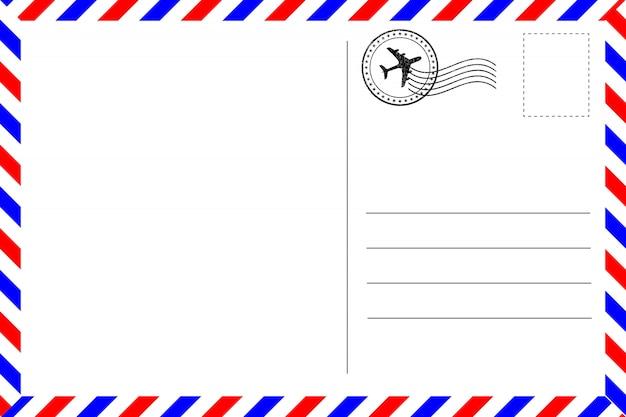 Реалистичная винтажная открытка с красной и синей каймой