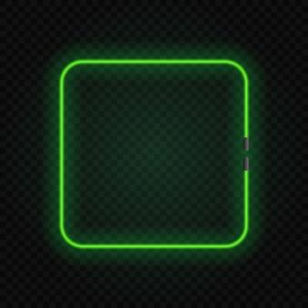 透明の正方形のネオン白熱灯フレーム