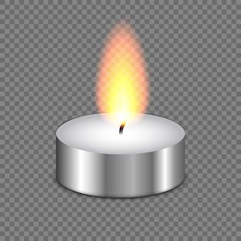 Свет пламени свечи на прозрачном фоне