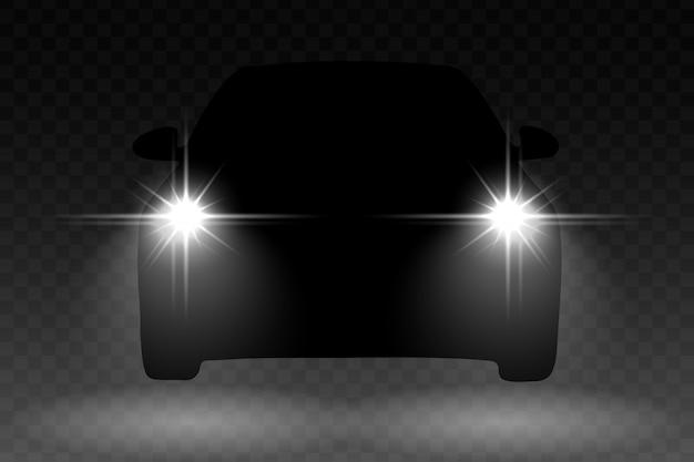 自動車のシルエットと車の光フラッシュ効果