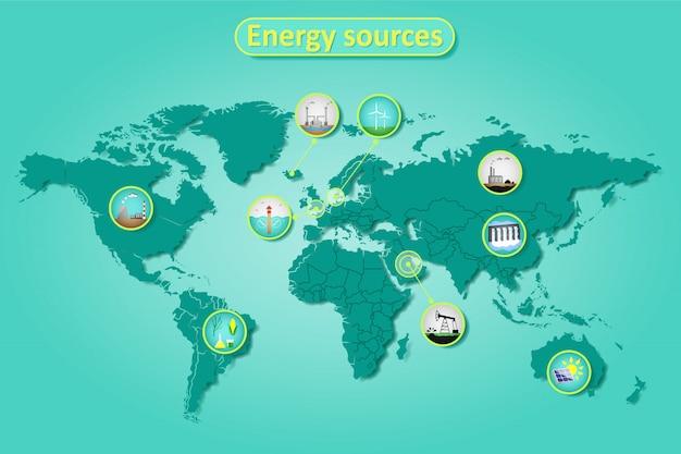 世界地図上の電力とエネルギー源のインフォグラフィック