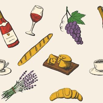 手描きの食べ物の落書きとのシームレスなパターン