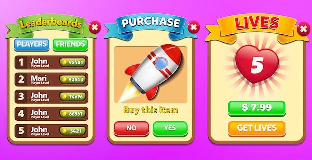 Всплывающее меню «лидерборд», «специальное предложение» и «купить жизни» со счетом звезд и графическим интерфейсом кнопок