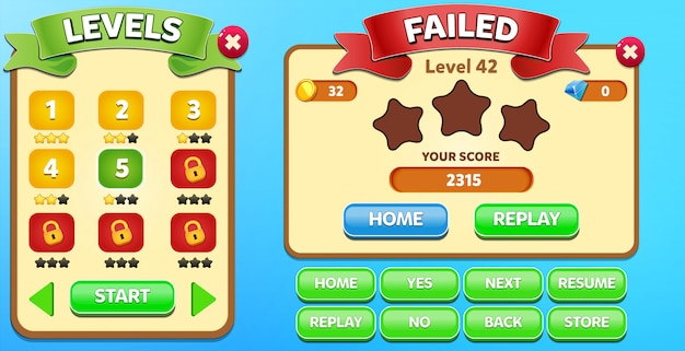 Всплывающее меню «выбор уровня» и «сбой» со счетом звезд и графическим интерфейсом кнопок