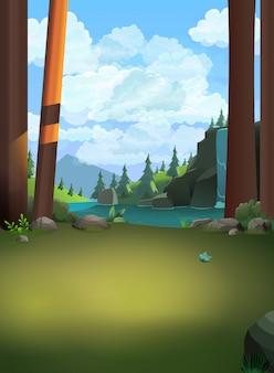 森林の丘、ジャングルの山、雲、木、石、自然、土地、光