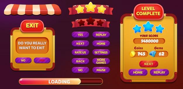レベル完了および星とボタンを備えた終了画面ポップアップ画面