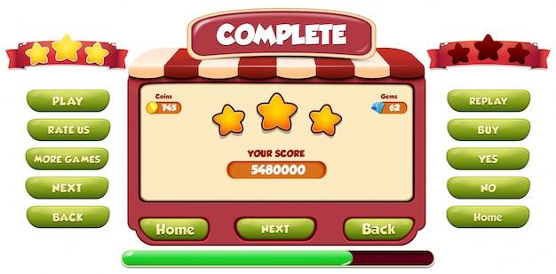 レベル完了メニューのポップアップ画面と星とボタン