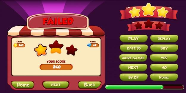 星、ロード、ボタンが表示されたレベル失敗メニューのポップアップ画面