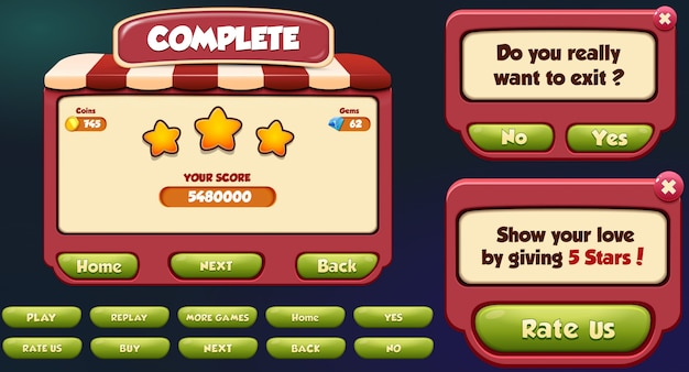 レベル完了、終了、評価メニューのポップアップ画面と星とボタン
