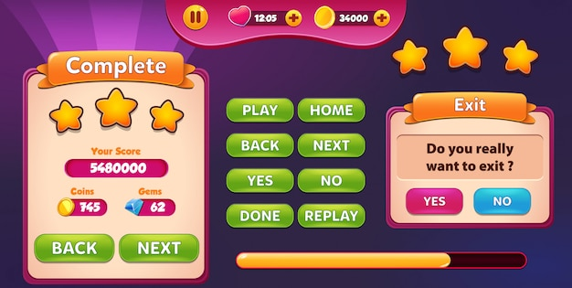 レベル完了および終了メニューのポップアップ画面と星とボタン