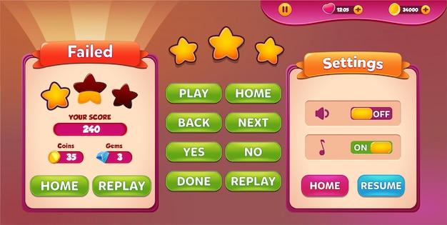 レベルに失敗し、星とボタンが表示された設定メニューのポップアップ画面