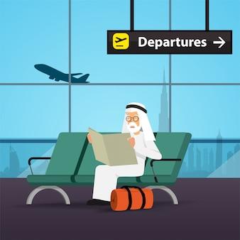Арабский мужчина в концепции путешествия. аэропорт дубай