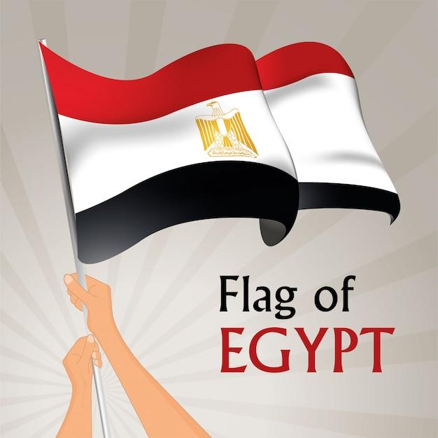 Развевающийся флаг египта. векторная иллюстрация