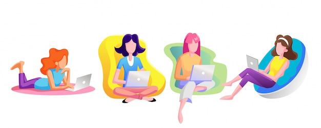 女性はラップトップを介してさりげなくインターネットを見ています。