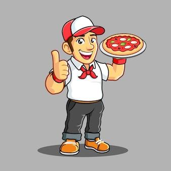 Мальчик с доставкой пиццы с белой футболкой