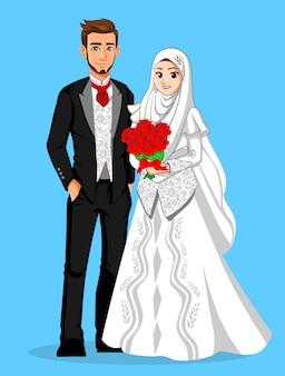 黒と白の服と赤い花を持つ国民の花嫁