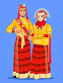 ブギスマカッサルの花嫁カップルの伝統的なドレス