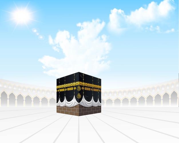 柔らかい空と白いマスジジルハラムのカバのイラスト。メッカ巡礼は、サウジアラビアのメッカへの毎年恒例のイスラム巡礼です