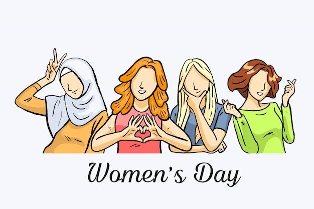 Женский день с разными расами и позами.