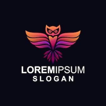 グラデーションのフクロウのロゴ
