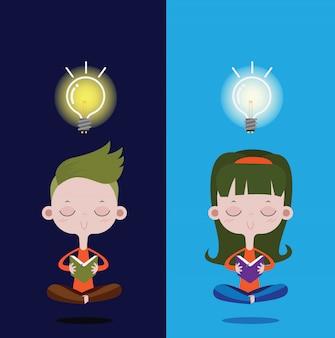 本を読んでいる少年、頭の上の明るい電球。ベクトル漫画の概念