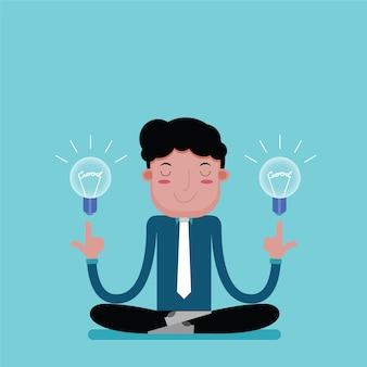 瞑想へのビジネスマンは良いアイデアのために寛ぎます