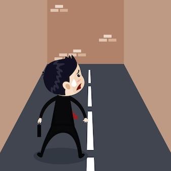 ビジネススタンド、路上の壁、ビジネスコンセプト、ベクトル漫画で停止します。