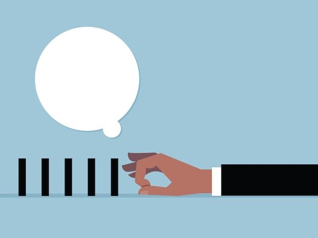 Рука, чтобы щелкнуть черный ящик и речи пузырь. векторный мультфильм