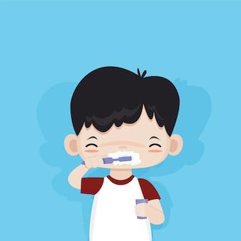 彼の歯を磨くことに満足しているかわいい男の子、ベクトル漫画