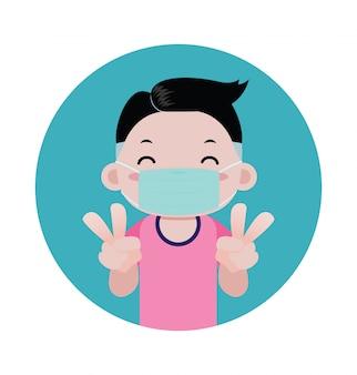 Мальчик в медицинской маске на лице