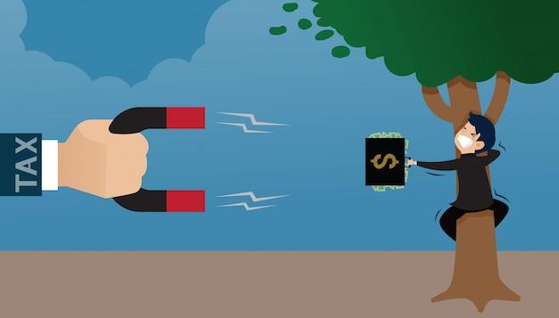 磁石を保持している税の大きい手は木を抱き締める実業家の手に財布を吸います