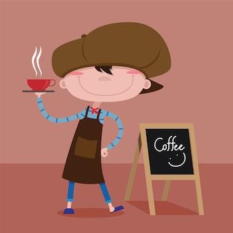 Бариста дети преподносят кофе на подносе, векторный мультфильм