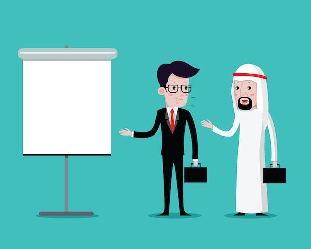 アラビアのビジネスマンとのプレゼンテーションに男のビジネス