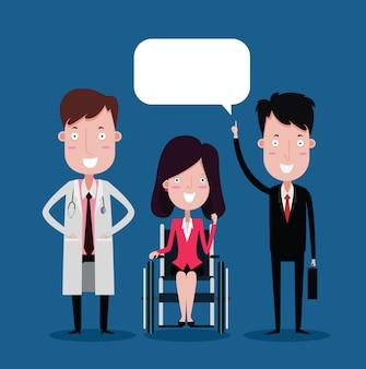 医者と車椅子の女性実業家